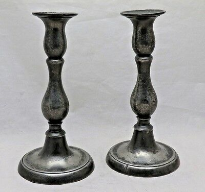 """Pair Antique English Pewter Baluster Candlesticks 7 1/4"""" Tall With Ejectors"""