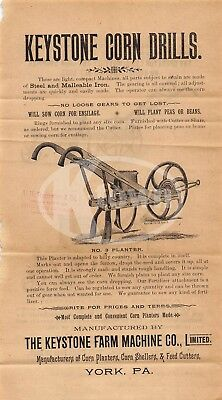Keystone Farm Machinery York Pennsylvania Antique Graphic Advertising Flyers