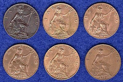 Great Britain, George V, Farthings, 1917-22, 6 Coins, High Grade (Ref. t0385)