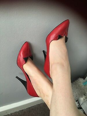 Sexy Vintage 70s/50s Red Leather Heels Great Condition!