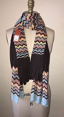 MISSONI For Target NWT Gloves &  Scarf Brown Blue ONE SIZE