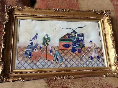 Chinese Antique 19th C Warrior Painting Pith Rice Paper Silk Framed and Glazed