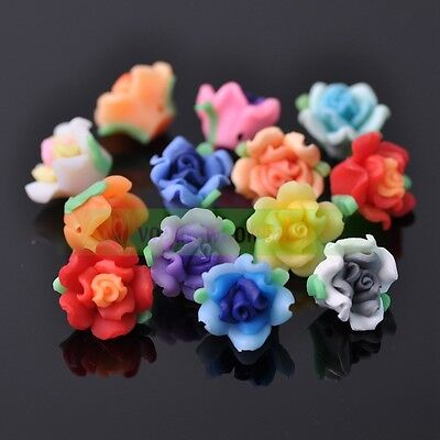 Wholesale 50/100/200pcs 15mm Mixed Polymer Fimo Clay Flower Spacer Loose Beads