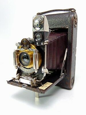Vintage Kodak No.3 Folding Pocket Film Camera Model E-2 Brass Bausch Lomb Lens