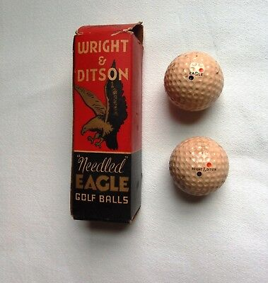 Vintage Antique WRIGHT & DITSON EAGLE NEEDLED BALL BOX 2 GOLF BALLS GEER PATENT