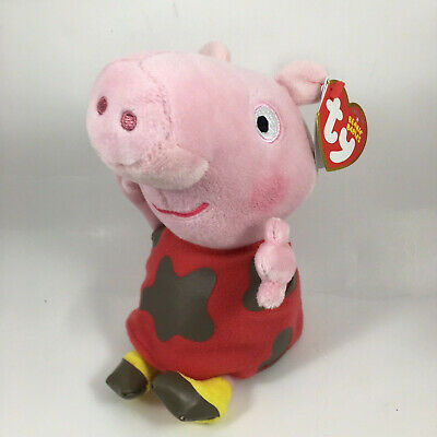 "TY Beanie Baby 6"" MUDDY PUDDLES PEPPA Pig Plush Animal Collectible Toy MWMT's"