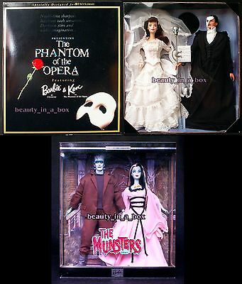 Phantom of the Opera Barbie Doll Munsters Lily Herman Ken NRFB Lot 2 HalloweenG""