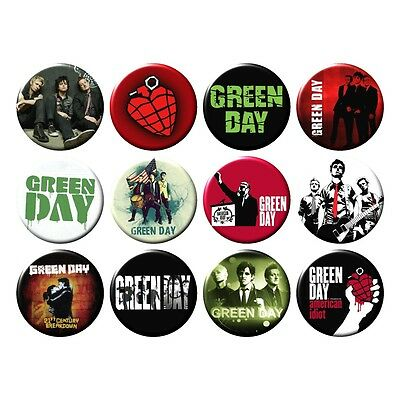 12x GREEN DAY Button Pin Badges Collection Punk Rock Greenday NEW