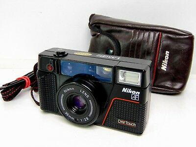 Retro Nikon L35 AF2 One Touch compact point & shoot film camera 35mm lens & case