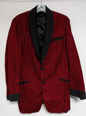 MENS VINTAGE 50s SPORTCOAT JACKET ROCKABILLY STRIPED GRADIENT RED BLACK MEDIUM