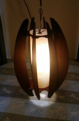 Mid-century Modern Danish style pendant /swag hanging Ceiling lamp wooden