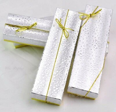 Lot Of (10) Gold & Silver Cotton Filled Box Jewelry Box Bracelet Box ~Deal~