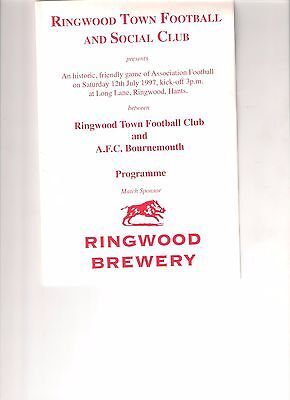 Ringwood v AFC Bournemouth pre-season friendly programme 1997 reserves
