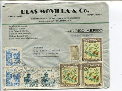 Colombia air mail cover to Sweden 1948