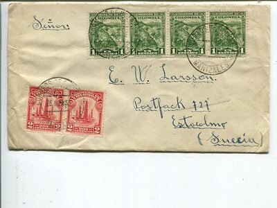 Colombia cover to Sweden 1933
