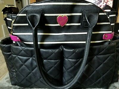 Betsey Johnson Weekender Baby Diaper Bag Quilted Striped Pink Black White