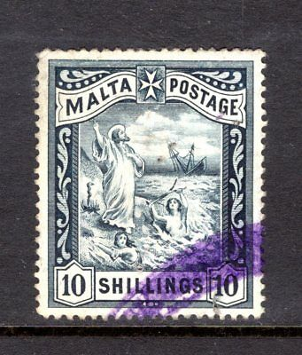 MALTA 1899-1901 sg35  10/- BLUE-BLACK FISCAL USED WITH COUPLE FAULTS CAT £65