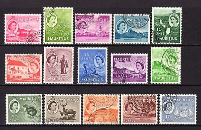 MAURITIUS 1953 sg293-306 FINE TO VERY FINE USED SET 2c TO $10 CAT £21