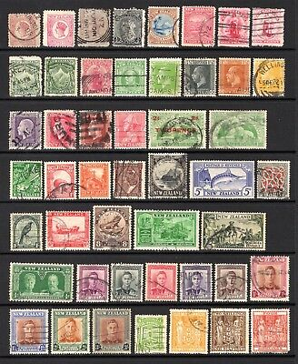 NEW ZEALAND QV TO KGV1 GOOD TO FINE USED RANGE x 48 STAMPS NOT CAT BY ME