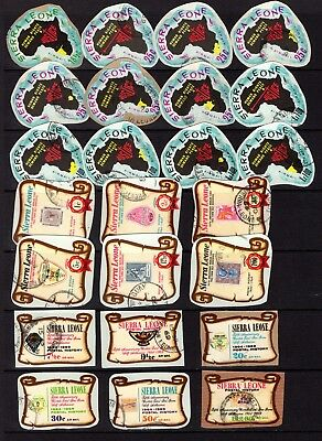 SIERRA LEONE SELF ADHESIVES MOST ON PIECE GOOD TO FINE USED x 87 STAMPS NOT CAT