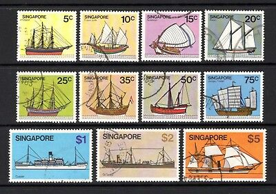 SINGAPORE 1980 SHIPS sg365-375 VERY FINE USED SHORT SET TO $5 NOT CAT BY ME