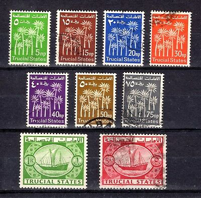 TRUCIAL STATES 1961 sg1-8 + sg10 GOOD TO FINE USED PART/SHORT SET CAT £41
