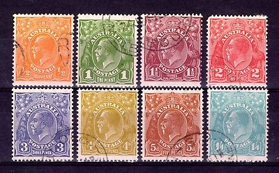 AUSTRALIA KGV HEADS 1931-6 sg124-131 FINE USED CTO SET WITH GUM CAT £22