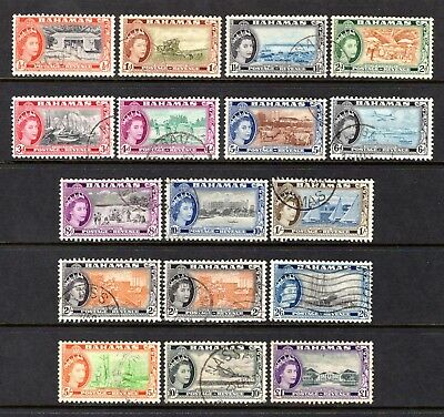 BAHAMAS 1954 sg201-216 + sg212a SHADE GOOD TO FINE USED SET 1/2d TO £1 CAT £21
