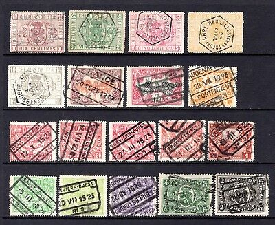 BELGIUM EARLY GOOD TO FINE USED RAILWAY - PARCEL POST STAMPS x 18 STAMPS NOT CAT