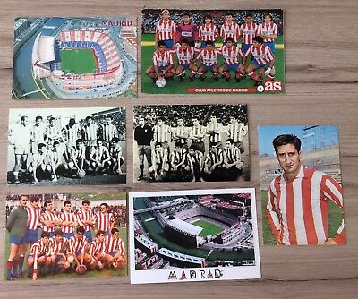 7 Atletico Madrid Postcards All Different Various Years Players Teams