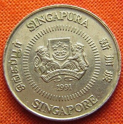 1991 Singapore Ten Cent Coin Km# 51 (Wc0026)
