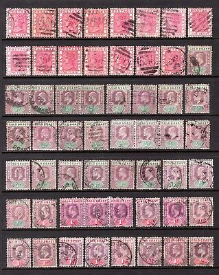 GOLD COAST QV + EDV11 DUPLCATED GOOD TO FINE USED RANGE x 56 STAMPS NOT CAT
