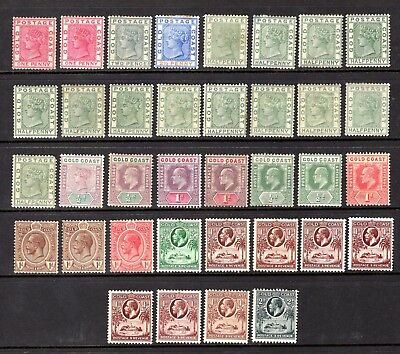 Gold Coast Qv 1884 To Kgv 1928 Duplicated Mounted Mint Range 36 Stamps Cat £176