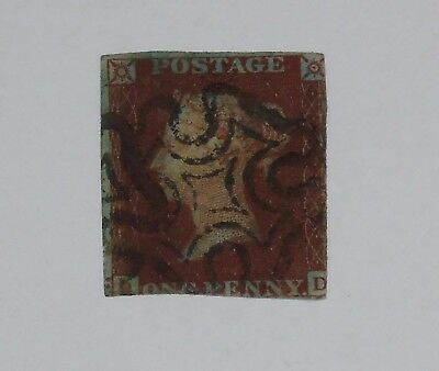 Stamp Pickers Great Britain 1841 Queen Victoria Imperf Penny Red Scott #3 FU
