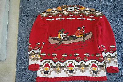 VINTAGE 1970s CHAUS SPORT COTTON LODGE SWEATER SZ M, BLANKET STITCH, CANOE GREAT