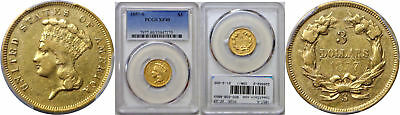 1857-S $3 Gold Coin PCGS XF-40