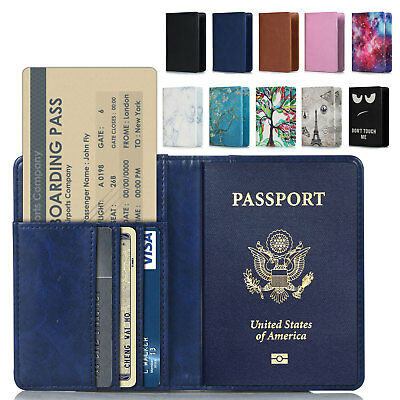 RFID Blocking Leather Passport Holder ID Case Credit Card Wallet Men / Women's