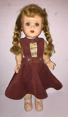 "EUC Blonde vintage 16"" Saucy Walker w/homemade Jumper/Blouse Shoes and socks"