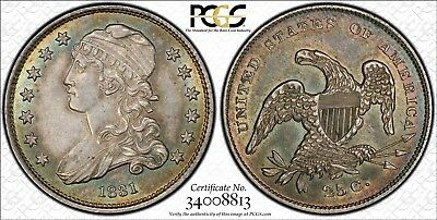 1831 25C Small Letters Capped Bust Quarter, AU 58, Toned, PCGS, make offer.
