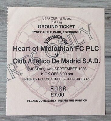 HEART OF MIDLOTHIAN v ATLETICO MADRID UEFA CUP 1R 1L MATCH TICKET 14 SEPT 1993