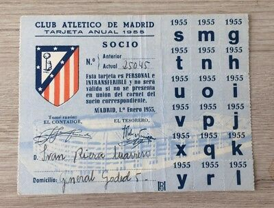Atletico Madrid 1955 Annual Season Card/ticket Very Rare 18 Letters Still Intact
