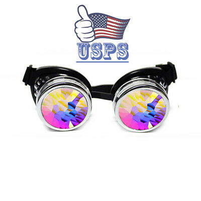 Full Kaleidoscope Steampunk Rave Glasses Goggles with Rainbow Crystal Glass USA