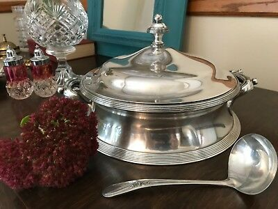 Reed & Barton silverplated soup tureen No. 1050 3 piece set PLUS spoon