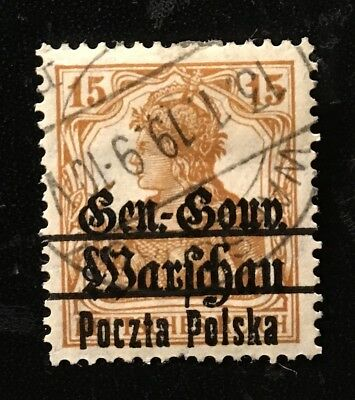 Poland 1918, germania stamp GG Warschau Fi#11, error overprint PP