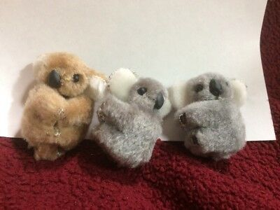 "Vtg Lot 3- Koala Bear Clip On Plush Huggers 2-grey & 1 Tan All 2"" Mint"