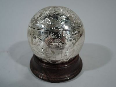 Tiffany Box - World Globe with Oceans & Continents - German Sterling Silver