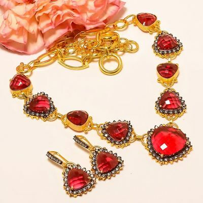 """Pink Rubellite Toumaline Gold Plated Handmade Necklace 17.99""""& Earring (97)"""