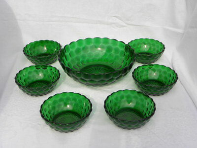 7 Pc Set Vintage Anchor Hocking Forest Green Bubble/Bullseye Berry/Fruit Bowls