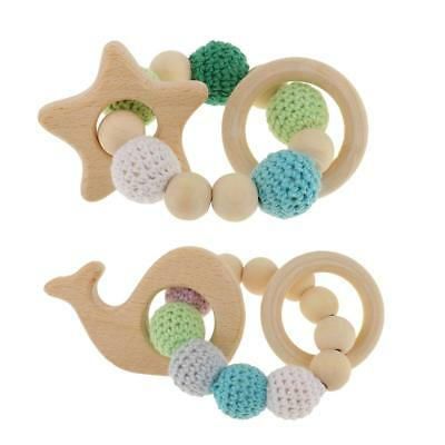 2pcs Handmade Wooden Baby Teether Teething DIY Bracelet Ring Hand Chain Toys