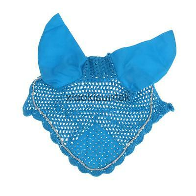 Cotton Horse Ear Bonnet/Net/Mask/Hood Fly Veil Diamante Equestrian Sky Blue